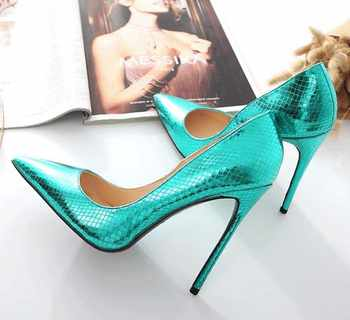 Vinapobo Green Leather 2018 New Spring High Heel Women Pointed Toe Lady Shoes Stone Pattern Work Pump Party  Wedding Shoes Pumps - DISCOUNT ITEM  40% OFF All Category