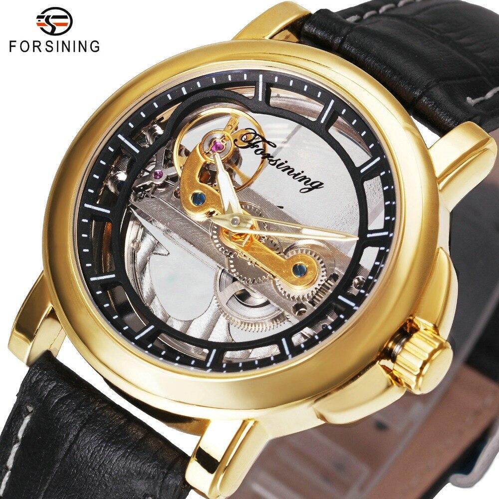 цена Top Brand Luxury Golden Bridge Watch Men Transparent Dial Luminous Hands Genuine Leather FORSINING Auto Mechanical Wristwatch