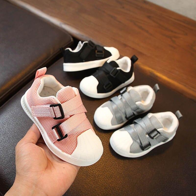 2018 новый осень детскую обувь для маленьких мальчиков и девочек моллюсков обувь из сетчатого материала малыша обувь бренда детские кроссовк...