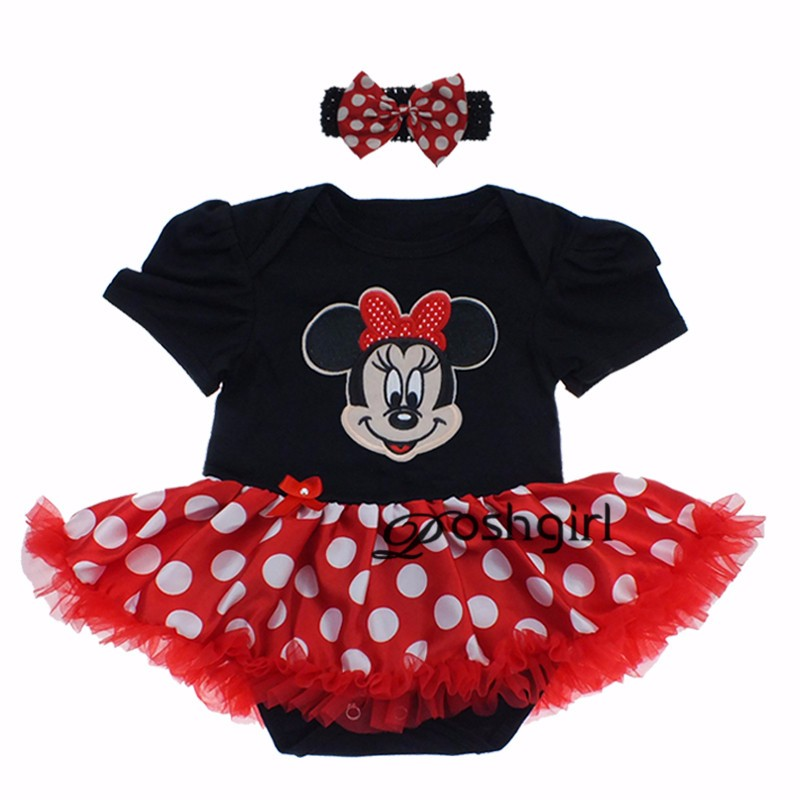 Dress Up Baby Girl Clothes Supergirl Bebe Costume 1st Birthday Dress Black Minnie Bodysuit Red Dots Tutu Skirt Baby Dress Nb-24m xmas leopard minnie dots red pettiskirt with christmas minnie print white long sleeve top with minnie dots lacing mamw413