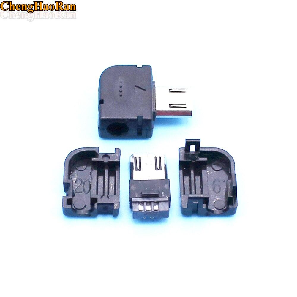 ChengHaoRan 500pcs DIY Right Angel 90 Degree Long Micro USB Type B Male 5pin three Piece