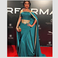 Turquose Mermaid Celebrity Dress Saudi Arabic Kaftan Teal Prom Dress with Cloark Gold Applique Red Carpet Dress Vestido De Festa