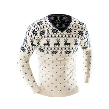 New Arrival Sweaters Stylish Deer Animal Print Knitted Long Sleeve Sweater Men Sweater Male Sweaters Pullover Christmas gift