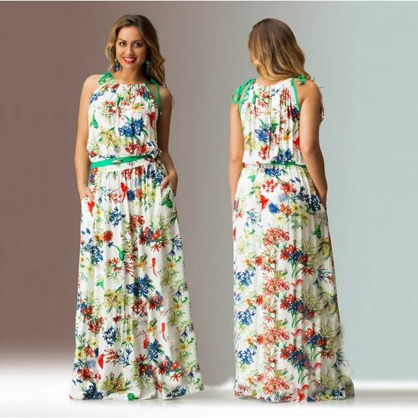 fba6e3fcb0a 2015 print floral plus size long maxi dress 5xl summer Loose plus size  dresses for women sleeveless cotton 3xl 4xl 5xl 6xl-in Dresses from Women s  Clothing ...