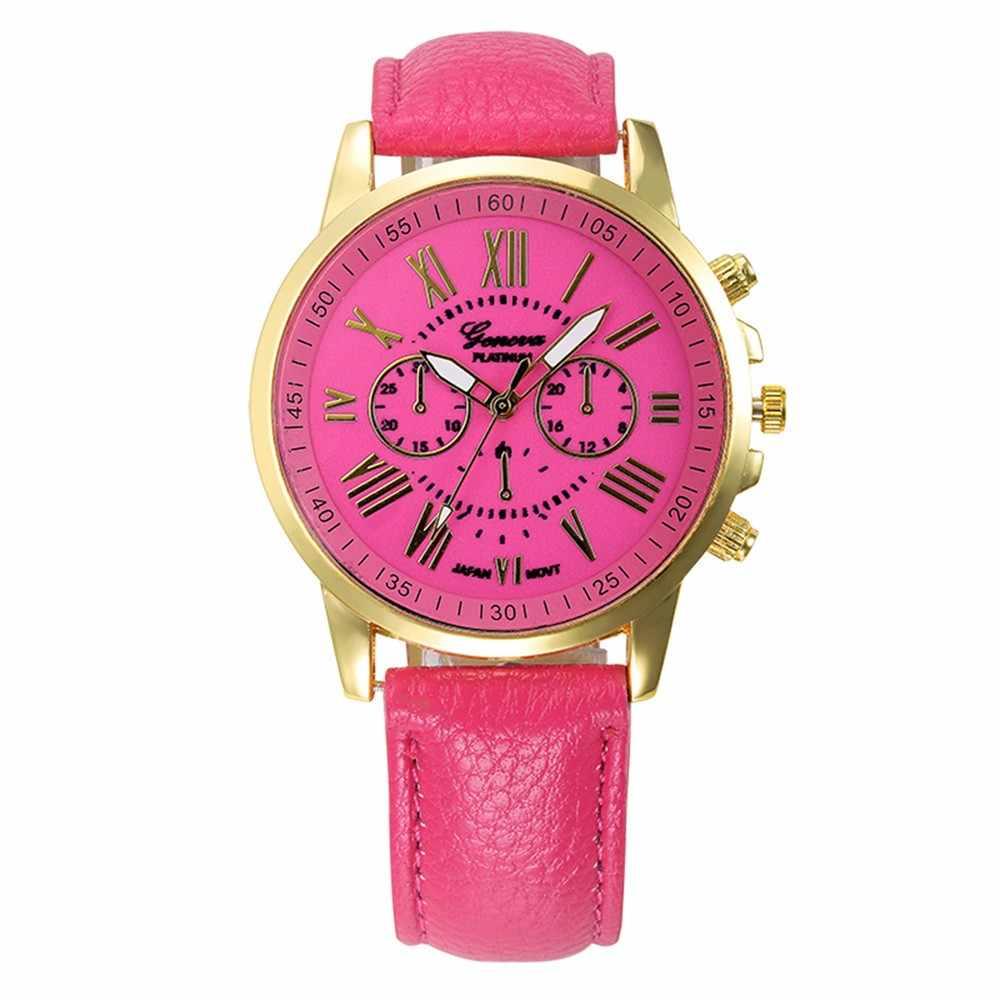Femmes montres affaires Style chiffres romains cadran dames Quartz Montre-bracelet mouvement bracelet en cuir décontracté horloge Montre Femme