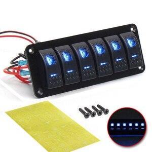 Image 1 - 6 Gang Rocker Switch Panel met Blauwe LED Licht Circuit Breaker voor Marine/auto Waterdichte IP67 Zwart duurzaam effen aluminium paneel