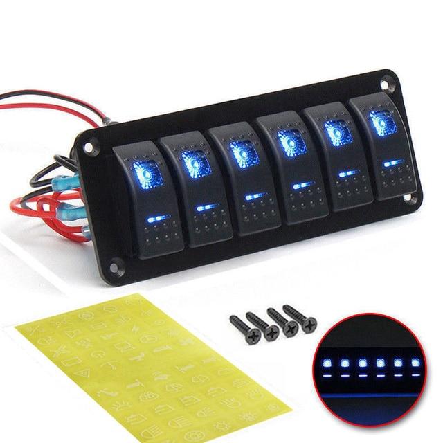 6 عصابة لوحة مفتاح متأرجح مع إضاءة led زرقاء قطاع دارة ل البحرية/سيارة مقاوم للماء IP67 أسود دائم لوح ألومنيوم صلب