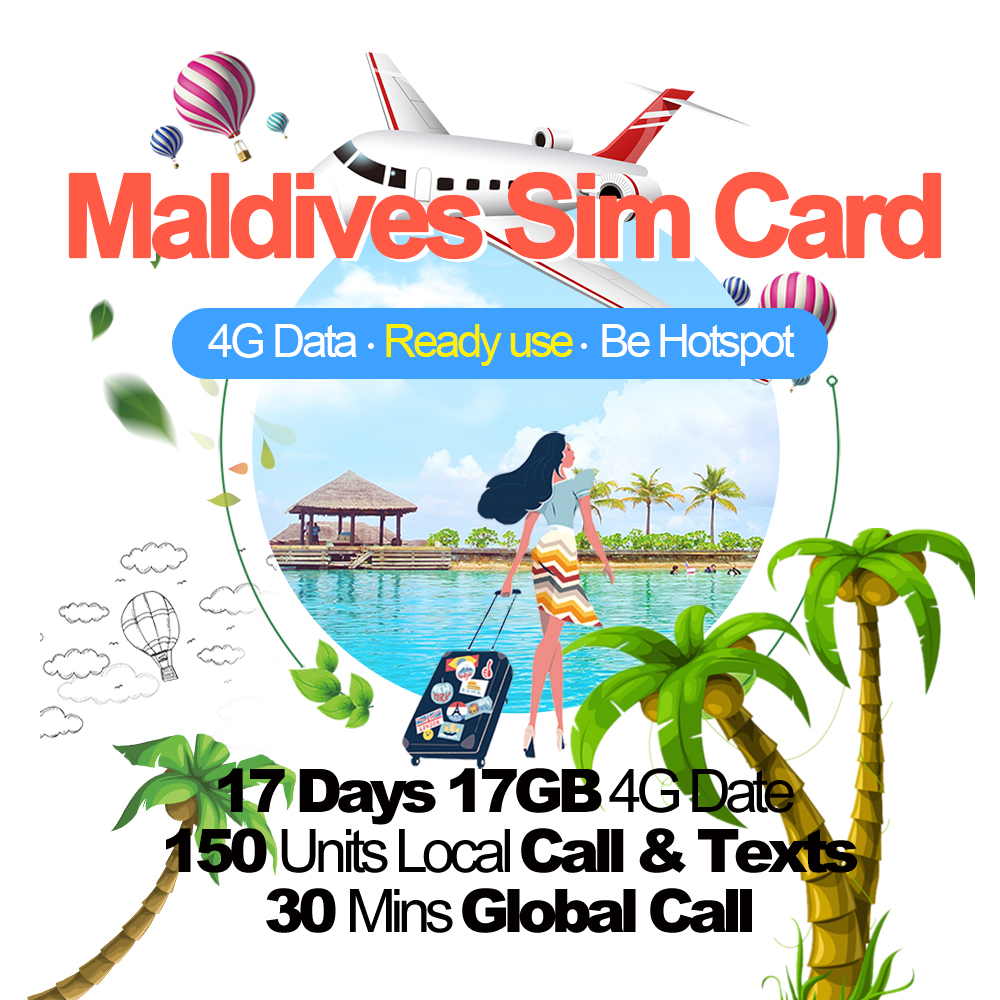 Mewfi Maldives Travel Sim Card 14 Days 17GB 4G Data+150 Units Local Call&SMS+30 Mins Global Call DHIRAAGU Mobile Phone Sim CardMewfi Maldives Travel Sim Card 14 Days 17GB 4G Data+150 Units Local Call&SMS+30 Mins Global Call DHIRAAGU Mobile Phone Sim Card
