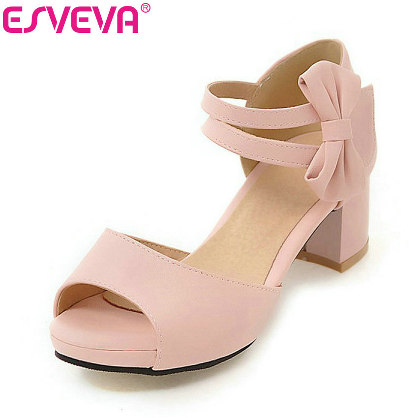 ESVEVA 2017 Sweet Bow Tie Summer Shoes Hook& Loop Women Sandals Square Med Heel Sandals Peep Toe Pink Dating Shoes Size 34-43 polar loop 2 pink
