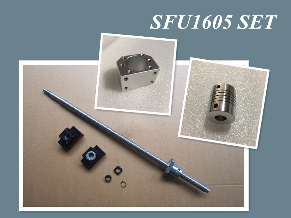 все цены на SFU1605 set: SFU1605 rolled ball screw C7 with end machined + 1605 ball nut + nut housing+BK/BF12 end support + coupler RM1605 онлайн