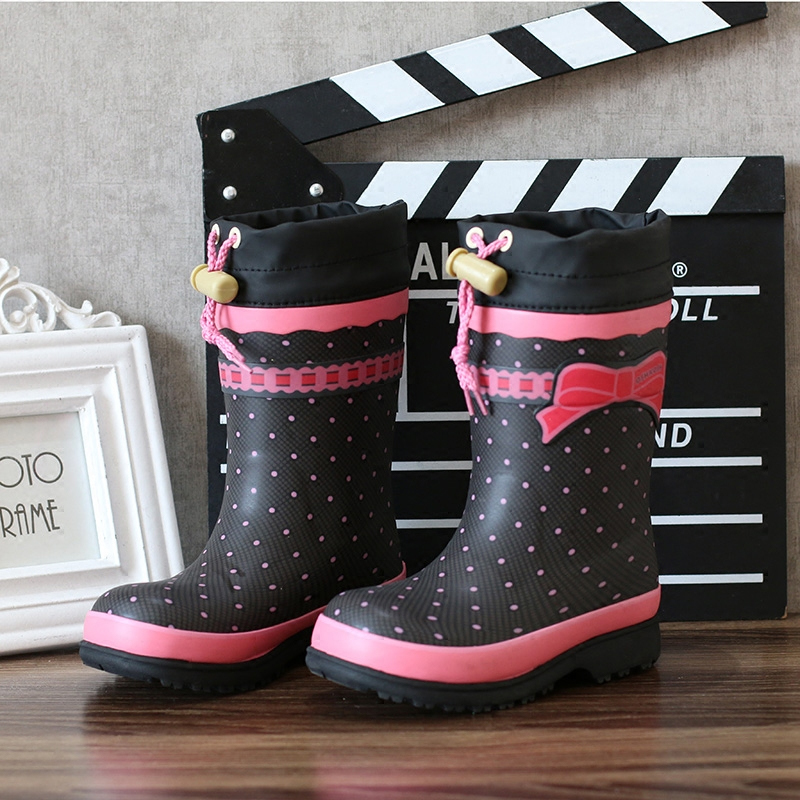 Kids Rain Boots Girls children butterfly Knot print Overshoes Flat Water Shoes Rubber Student Shoes Outdoor Waterproof Rainboots стоимость