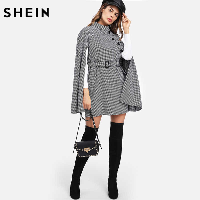 bbadd4f704 ... SHEIN Vintage Long Coat Women Black and White Fall Coat Cloak Sleeve  Stand Collar Self Belted ...