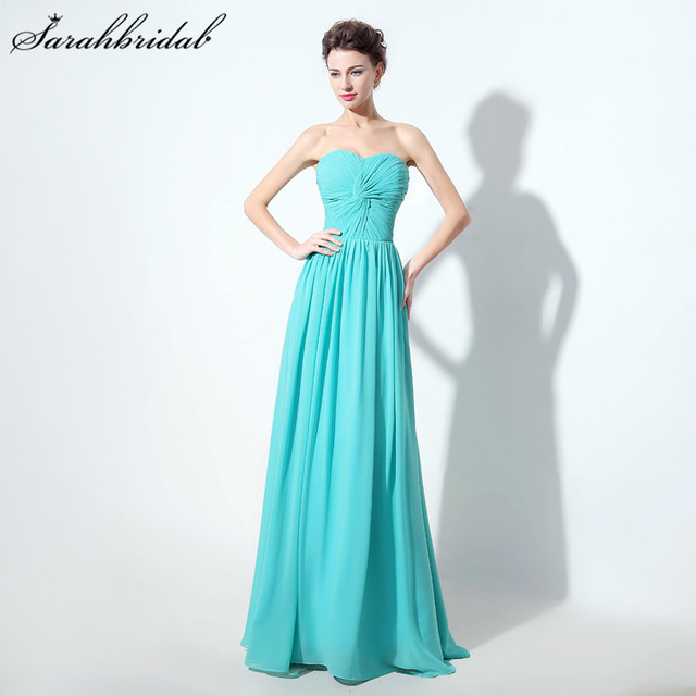 Simple Long Bridesmaid Dresses Chiffon A-Line Sweetheart Pleats Floor-Length  Cheap Prom Party ea48d6584