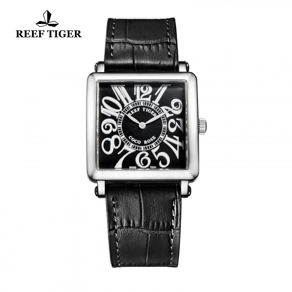 Reef Tiger/RT Fashion Quartz Watches Black Dial Leather Strap Watches Stainless Steel Casual Watch for Women RGA173 2x yongnuo yn600ex rt yn e3 rt master flash speedlite for canon rt radio trigger system st e3 rt 600ex rt 5d3 7d 6d 70d 60d 5d
