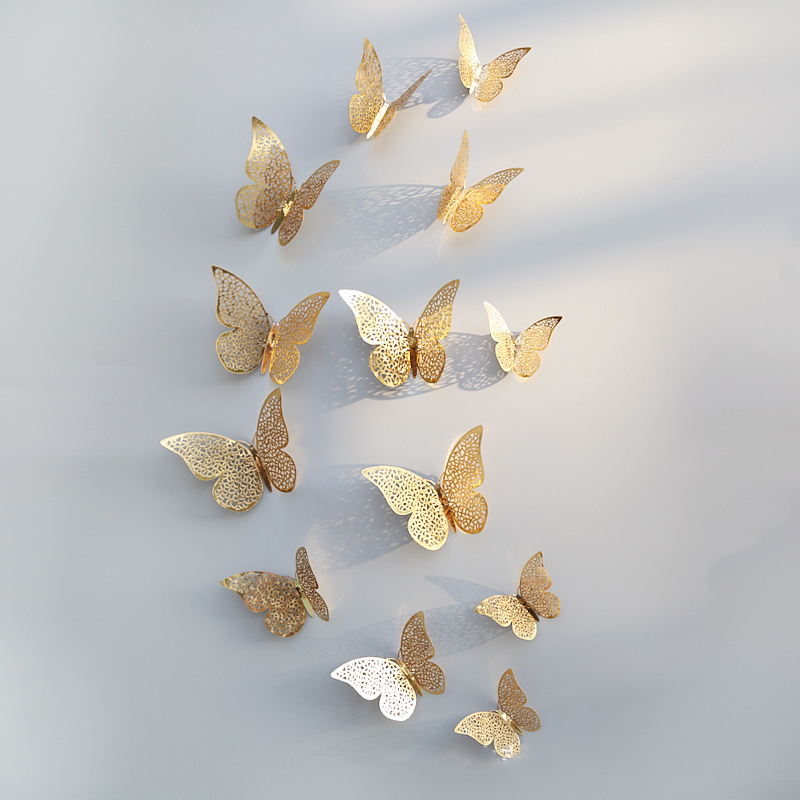 12 Pcs/Set 3D Wall Stickers Butterfly Hollow Paper 3Sizes Silver Gold for Fridge Stickers Home Party Wedding Decor Free Shipping