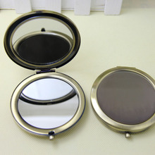 100 шт 70 мм бронзовое компактное зеркало металлический круг пустой макияж зеркало DIY рекламные подарки с логотипом-DHL