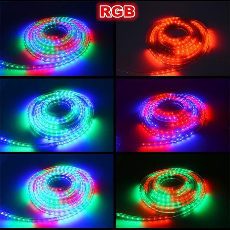 Распродажа 10 м 110 В/220 В Высокое напряжение SMD 5050 RGB Светодиодная лента Водонепроницаемая + ИК пульт дистанционного управления + источник питания - 6