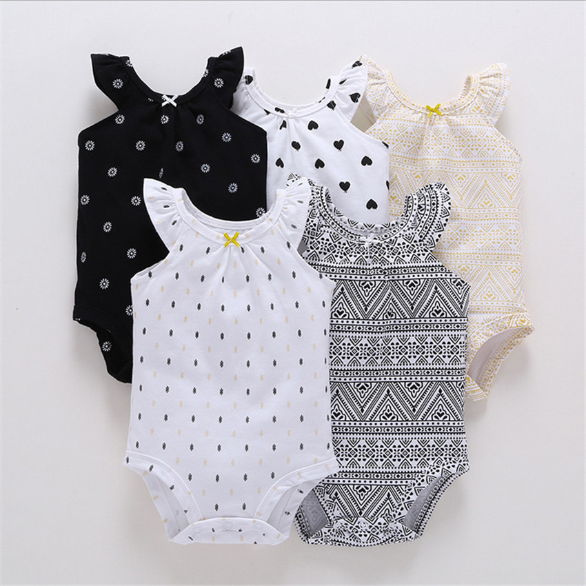 5PCS/LOT Baby Girl Top Quality Baby Rompers Sleeveless Cotton O-Neck for 0-24M Newborn Girls Roupas de bebe Baby Outfits Clothes