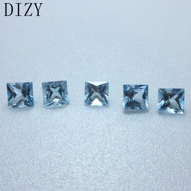 5x5 mm Faceted Round 5 Pcs Lot Natural Sky Blue Aquamarine Loose Gemstones