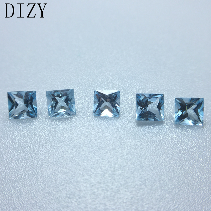 DIZY Sky Blue Topaz Square Princess Facetted Cut 5*5 Mm,5pcs Approx 4.0Cts Natural Loose Gemstone For Diy Jewelry Mounting