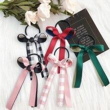 QIUBOSS Women Satin Ribbon Bows Elastic Hair Band Scrunchies Ponytail Holder Headbands  Accessories For Girls 1PC