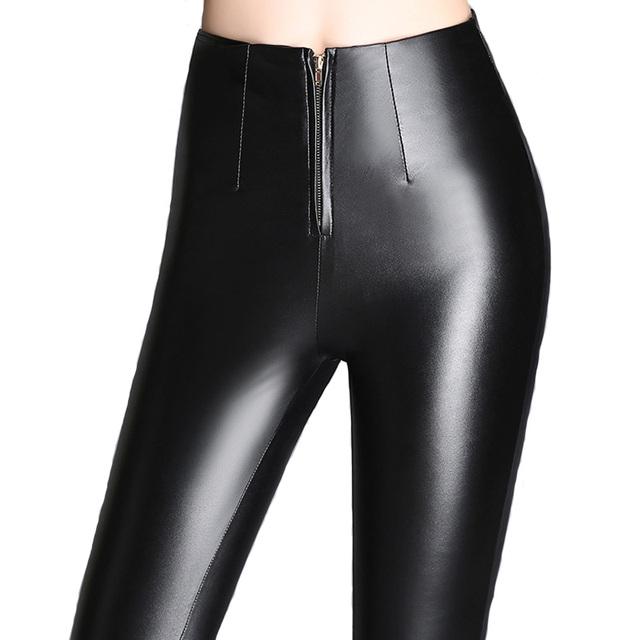 Calças de alta Qualidade Preto Moda Feminina Outono Sexy Zipper Calças De Couro Pu calças Lápis Leggings Pantalon Femme Plus Size 2016