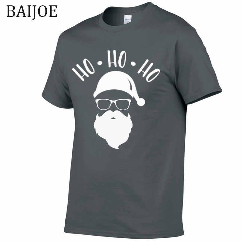 Nuovo Natale Cute Del Fumetto Santa Ho Ho Ho T-Shirt Da Uomo Abbigliamento Divertente T Shirt Di Natale Morbido E Confortevole homme T-Shirt