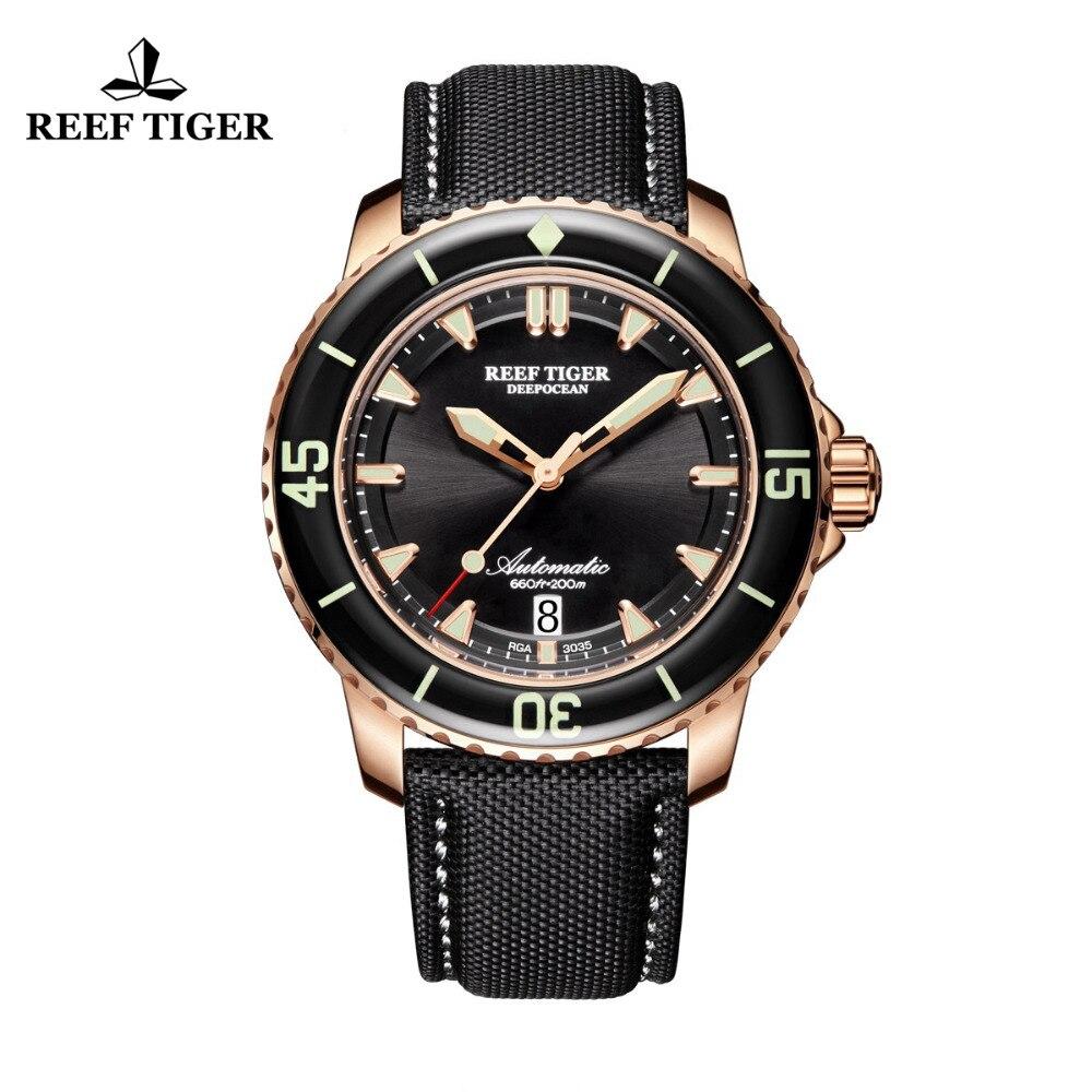 Récif Tigre/RT Hommes Plongée Montre avec Date Super Rose Or Lumineux Automatique Montres Nylon Bande RGA3035