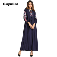 GuyuEra 2018 New African Dresses for Women Middle Eastern Muslim Long sleeved Large Size Women's Embroidered Arabian Robe Dress