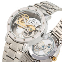 Classic Hollow Out Mechanical Watches Self Wind for Men Unique Steel Skeleton Durable Luminous Function Mechanical wristwatches