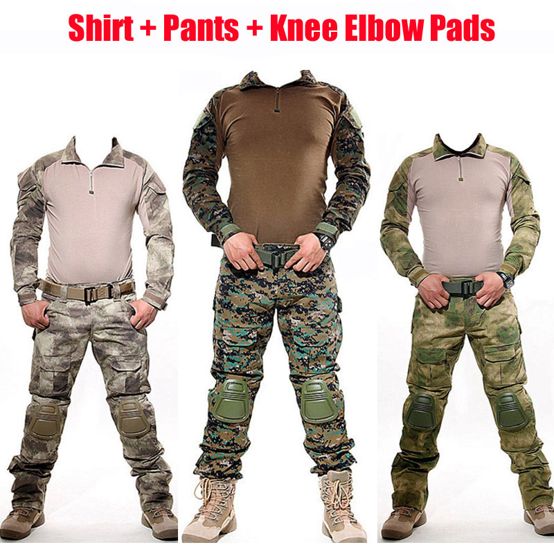 Tactical Camouflage Suits Hunting Clothes Army Military Uniform Shirt & Pants & Knee Elbow Pads Outdoor Sniper Cambat Frog Sets