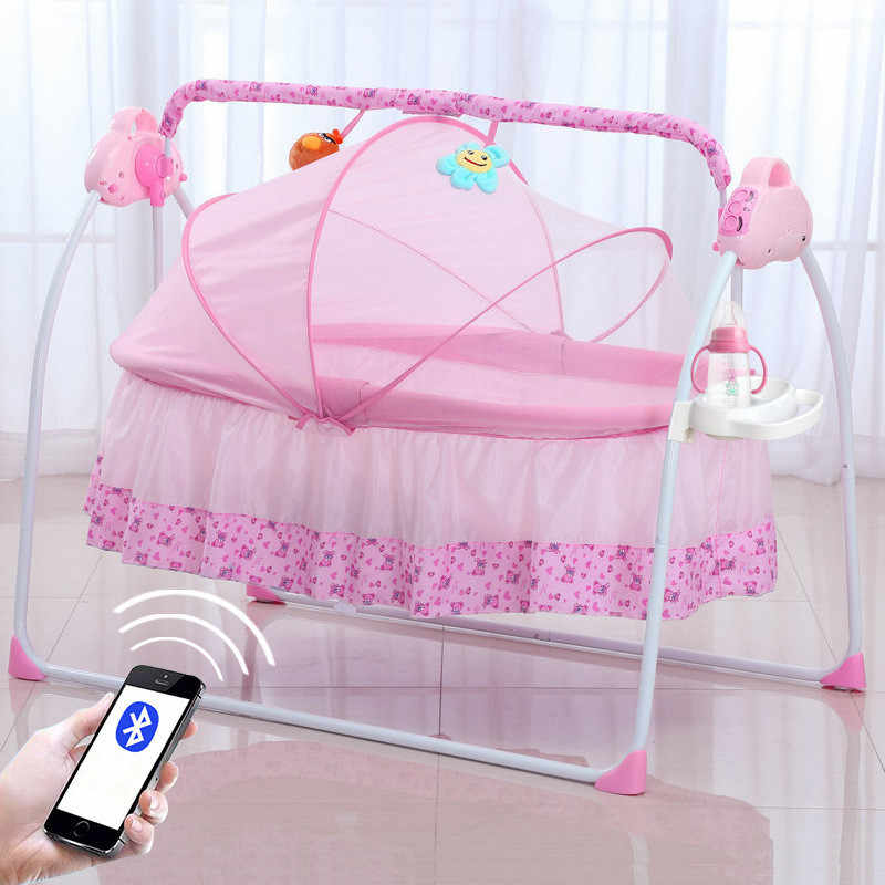 Intelligent Baby Crib Extended Electric Shaker Cradle with Remote Control Bluetooth Function Cots for Newborns Beds Babynestje