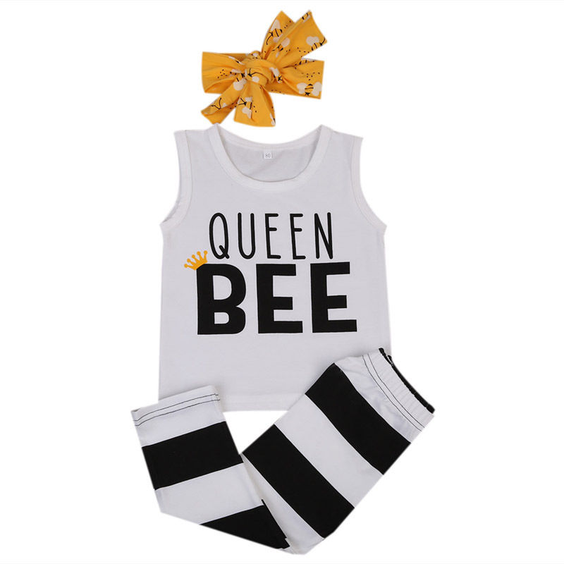 Cute Newborn Baby Boy Girl Queen Bee Vest Tops Pants 3pcs Outfits Clothes Set Child Infnat Boys Girls Cotton Casual Clothing Set 3pcs set newborn baby boys girls clothes set tops rompers cotton pants leggings hat outfits clothing baby boy 0 18m