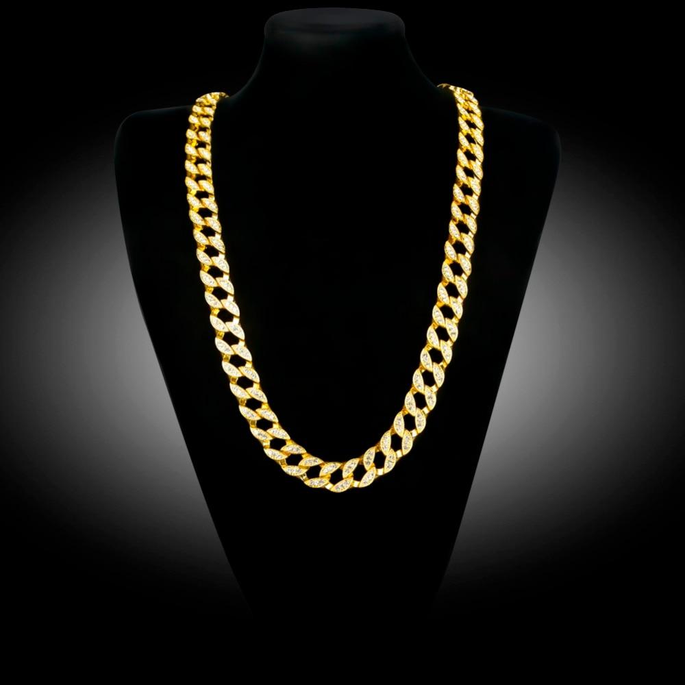 Uwin Full Iced Out Rhinestones Kalung Lelaki Warna Perak Kuba Link - Perhiasan fesyen - Foto 3