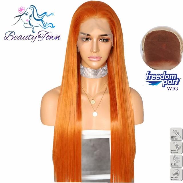 BeautyTown Color naranja 13x6 grandes de la parte libre Futura No enredo pelo resistente al calor maquillaje diario capa peluca frontal de encaje sintético