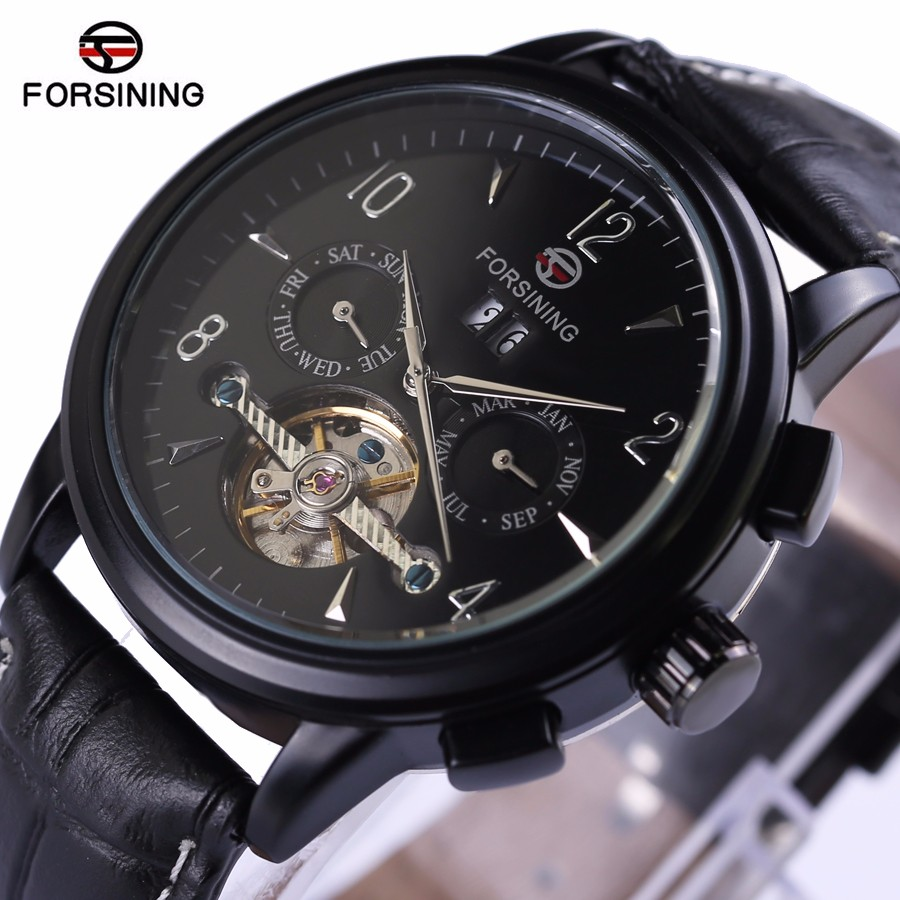 FORSINING Luxury Mechanical Watch Men self-wind Automatic watch men hands tourbillon watch Men self-wind watch With Gift Box forsining latest design men s tourbillon automatic self wind black genuine leather strap classic wristwatch fs057m3g4 gift box