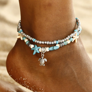 Boho Ethnic Antique 2 Layer Ankle Bracelet Cute Starfish Cuckold Foot Chain For Women Summer Beach Jewelry Tornozeleira(China)