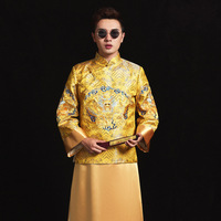 New arrival male Gold Chinese style costume the groom dress jacket long gown traditional Chinese wedding Qi pao for men