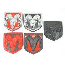 3D Auto Head Grill Achterklep 3D Stickers Metalen Embleem Inbouwen Metal Chrome Badge Emblem Sticker Ram hoofd Voor Dodge Ram kaliber