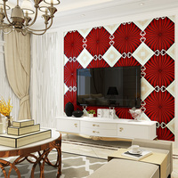 Luxury Flocking Suede Geometric Lattice 3d Wallpaper Roll For Living Room 3d Wall Paper Background Wallcoverings