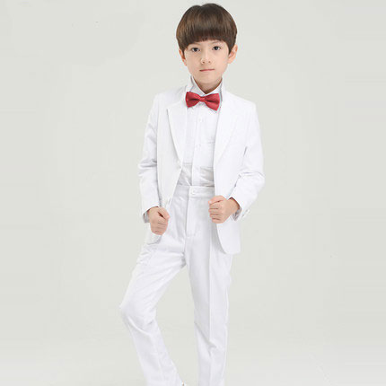 (Jackets+Pants+BowTie+Shirt) Boy Suits Flower girl Slim Fit Tuxedo Brand Fashion Bridegroon Dress Wedding white Suit Blazer