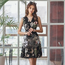 Women Floral Mini Dress 2019 Summer Fashion Sleeveless Printed A-line Dress V-neck Sexy Women Dresses blue random floral printed a line mini dress