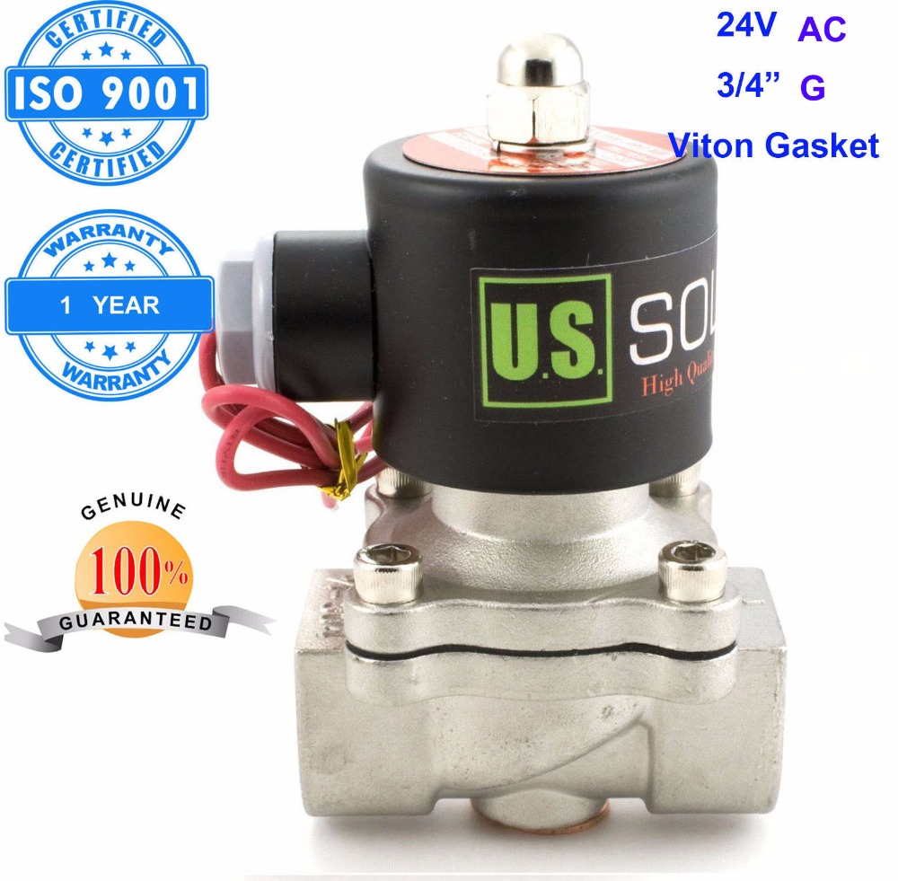 U.S. Solid 3/4 Stainless Steel Electric Solenoid Valve 24V AC G Thread Normally Closed water, air, diesel... ISO Certified u s solid 3 4 stainless steel electric solenoid valve 110 v ac g normally closed diesel kerosine alcohol air gas oil water