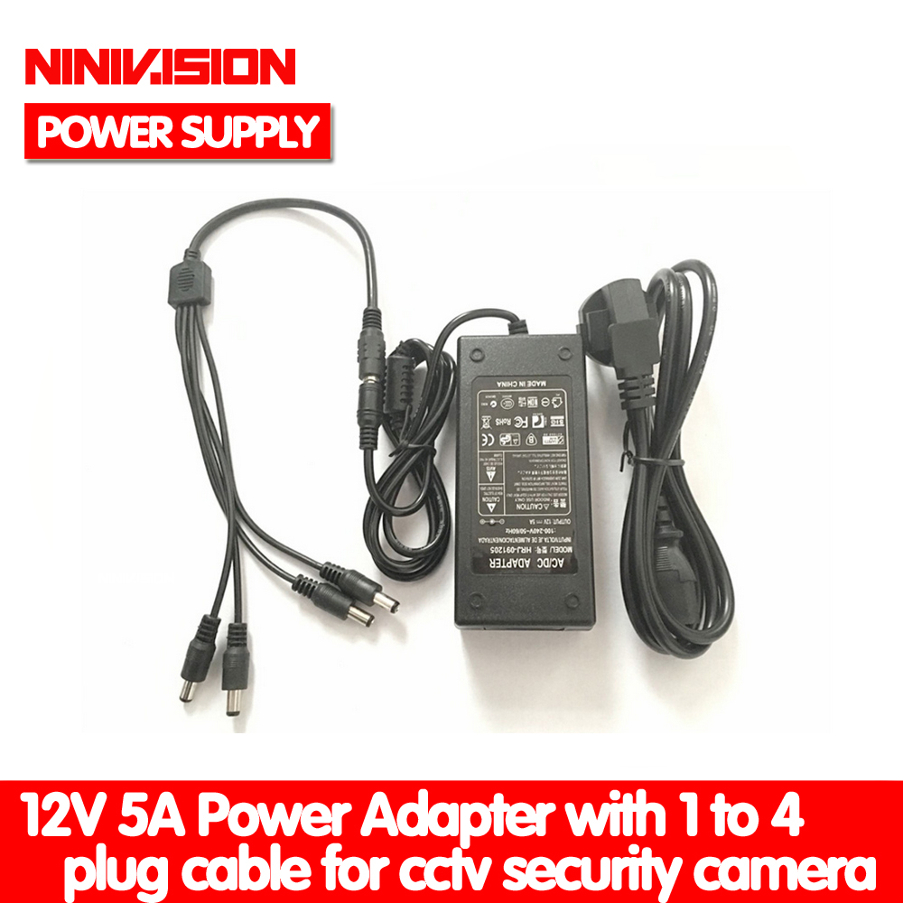 NINIVISION 12V 5A 1 To 4 Port CCTV Camera AC Adapter Power Supply Box For The CCTV Camera