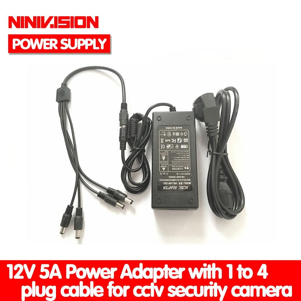 NINIVISION 12V 5A 1 to 4 Port CCTV Camera AC Adapter Power Supply Box For The CCTV Camera