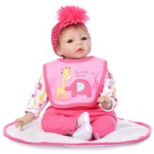 Nicery 22inch 55cm Reborn Baby Doll Magnetic Soft Silicone Lifelike Girl Toy Gift for Children Christmas Pink Elephant