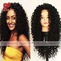 Синтетический Парик Фронта Шнурка Афро Кудрявый Парик Волос Черный цвет 180% Плотность Бесклеевого Жаропрочных Вьющиеся Волосы для Черных женщины