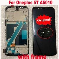 Sensor de mejor funcionamiento Original para Oneplus 5T A5010 1 + 5T  montaje de Digitalizador de panel táctil de pantalla LCD Super Amoled con marco