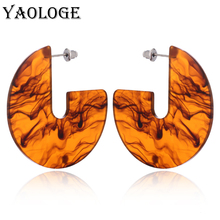 YAOLOGE Fashion Irregular Oval Acrylic Stud Earrings Simple Geometric Bohemian Vintage Statement Jewelry For Women New