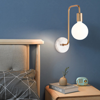 Nordic modern led wall lamp bedroom deco marble glass wall scone study decoration light fixture living room wall light rose gold
